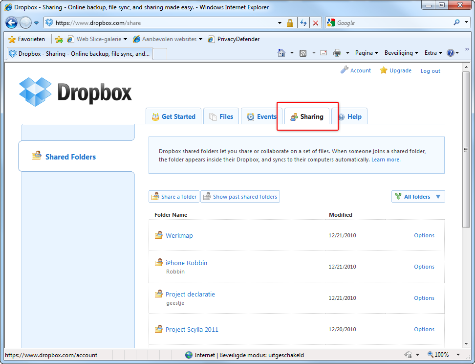 Dropbox mappen mappen verbergen