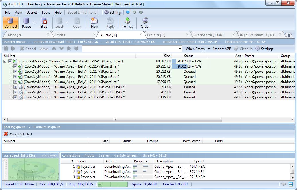 Par-bestanden pauzeert NewsLeecher automatisch, omdat de software ...