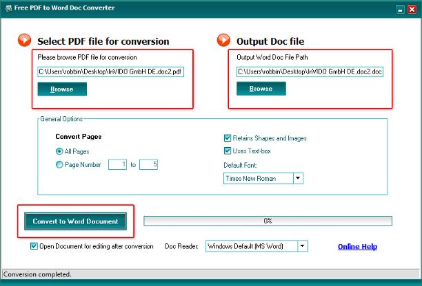 Free PDF To Word Doc Converter 1.1